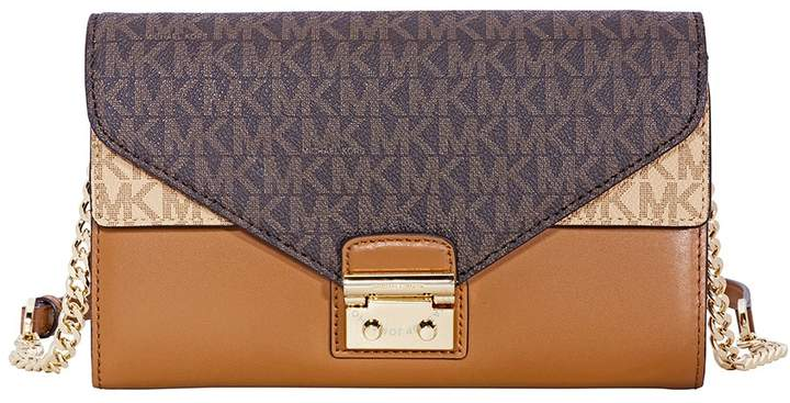 Michael Kors Sloan Large Leather Chain Wallet- Brown/ Acorn/ True Green - ONE COLOR - STYLE