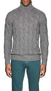 Barneys New York Men's Cable-Knit Wool-Mohair Turtleneck Sweater-Light Gray