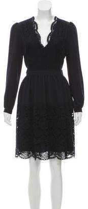 Claudie Pierlot Lace-Accented Long Sleeve Dress