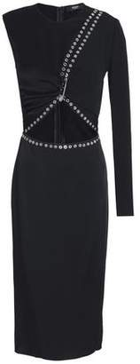 Versace Embellished Cutout Satin-Crepe Dress