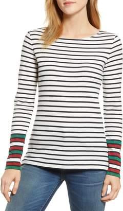 Boden Breton Sparkle Stripe Long Sleeve Cotton Blend Tee
