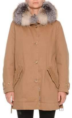 Ermanno Scervino Button-Front Canvas Cotton Parka Coat w/ Fox Fur Collar