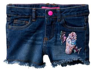 Betsey Johnson Sequin Applique Jean Shorts with Fringe Hem (Little Girls)