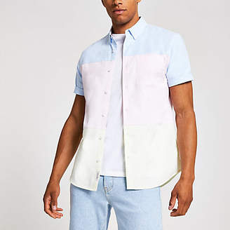 River Island Pink short sleeve pastel blocked shirt