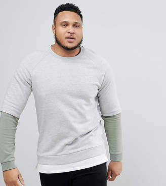 Asos DESIGN PLUS Sweatshirt With Hem Extender And Contrast Sleeves In Gray