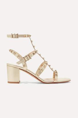 Valentino Garavani The Rockstud Leather Sandals - Gold