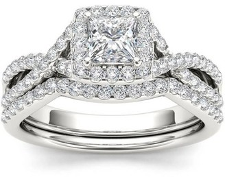 Imperial Diamond Imperial 1-1/4 Carat T.W. Diamond Criss-Cross Shank Halo 14kt White Gold Engagement Ring Set