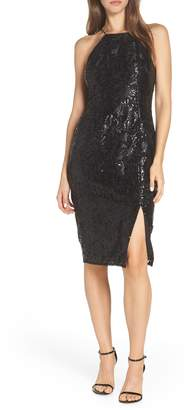 Adrianna Papell Halter Neck Sequin Cocktail Dress