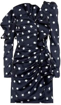 Self-Portrait Star-printed ruffled satin minidress