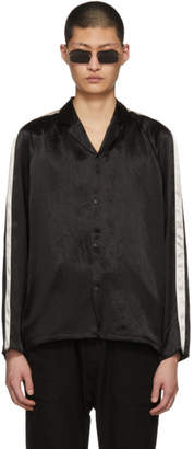 SASQUATCHfabrix. Black Satin Notched Collar Shirt