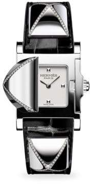 Hermes Medor Diamond, Stainless Steel& Alligator Strap Watch