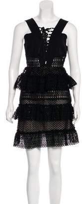 Self-Portrait Lace-Up Tiered Dress