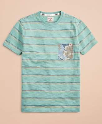 Brooks Brothers Multi-Color Stripe Slub Floral Pocket T-Shirt
