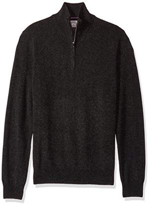 Phenix Cashmere Men's 1/4 Zip Sweater with Contrast Color Tipping