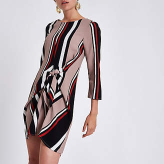 River Island Black stripe tie front shift dress