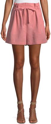Rebecca Taylor Slub Cotton-Linen High-Waisted Shorts
