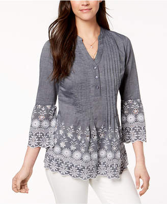 Style&Co. Style & Co Cotton Eyelet-Trim Blouse, Created for Macy's