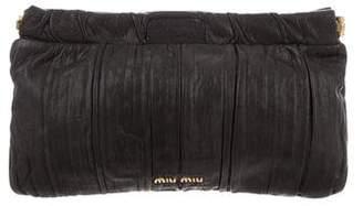Miu Miu Pleated Leather Clutch