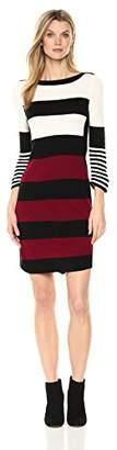 Sandra Darren Women's 1 Pc 3/4 Sleeve Striped Sweater Dress