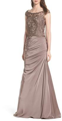 La Femme Beaded Lace Ruched Gown