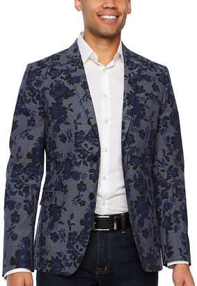 Jf J.Ferrar Resort Stretch Blue Black Floral Classic Fit Sport Coat - Big and Tall