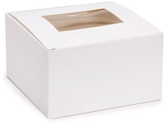 Victoria Lynn Pastry Box with Window - White - 6 x 6 x 3.5 inches - 4 pieces
