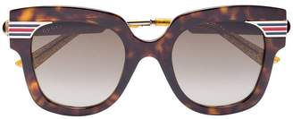 Gucci Gold Brown Havana Tortoiseshell sunglasses