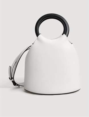 MANGO Wooden Handle Mini Tote Bag - White