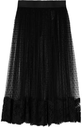 Lace-trimmed Swiss-dot Tulle Midi Skirt - Black
