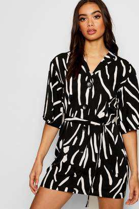 boohoo Oversized Printed Button Front Shirt Dress