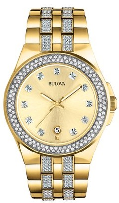 Bulova Men's Swarovski Crystal Gold Stainless Steel Watch 98B174