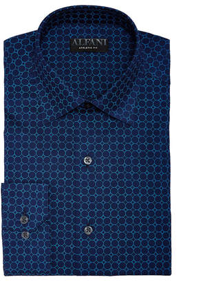 Alfani AlfaTech by Men's Athletic Fit Performance Stretch Circle Web Print Dress Shirt, Created For Macy's