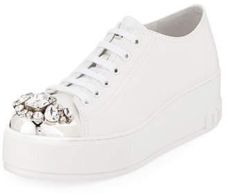 Miu Miu Jeweled Leather Platform Sneakers