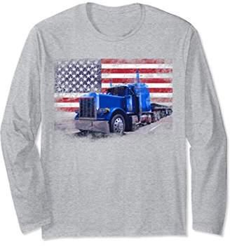 Truck Driver American Flag Trucker Distressed Long Sleeve