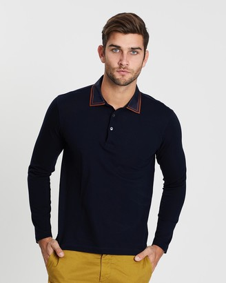 Cerruti Long Sleeve Polo with Outlined Collar