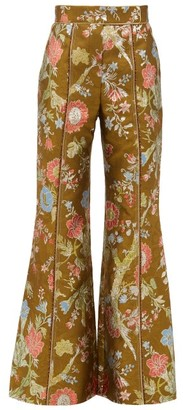 Peter Pilotto High Rise Floral Brocade Flared Trousers - Womens - Green Multi