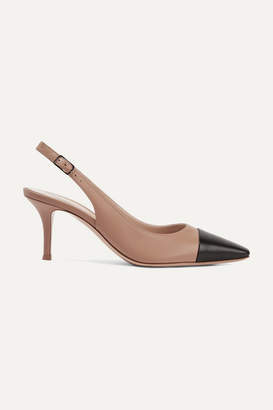 Gianvito Rossi Lucy 70 Two-tone Leather Slingback Pumps - Taupe