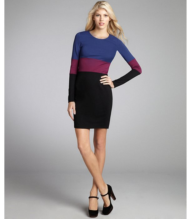 Julie Brown JB by navy stretch knit colorblock dress