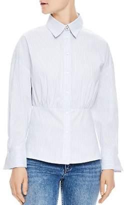 Sandro Solo Shirred Pinstripe Button-Down Shirt