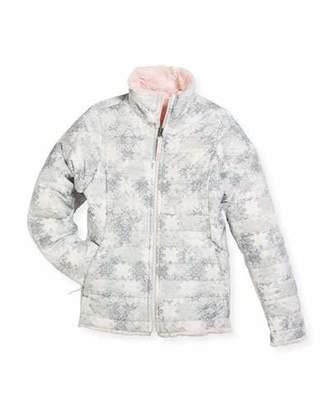 The North Face Girls' Reversible Mossbud Swirl Jacket, White, Size XXS-XL