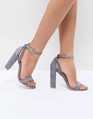 Lost Ink Blaise Grey Block Heel Sandals