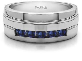 TwoBirch Sapphire Mounted in Silver Sapphire Sapphire Contemporary Design Men's Fashion Ring (0.75crt)