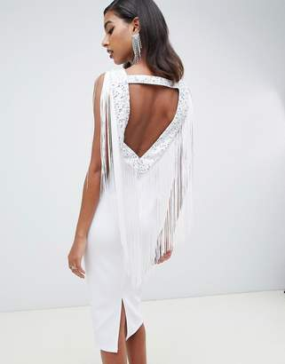 Asos DESIGN Embellished Scuba Fringe Back Midi Bodycon Dress