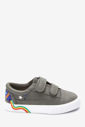 Next Boys Grey Rocket Double Strap Shoes (Younger) - Grey