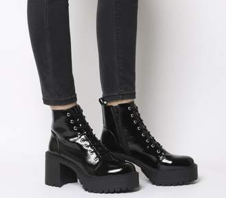 Office Animal Chunky Lace Up Boots Black Patent