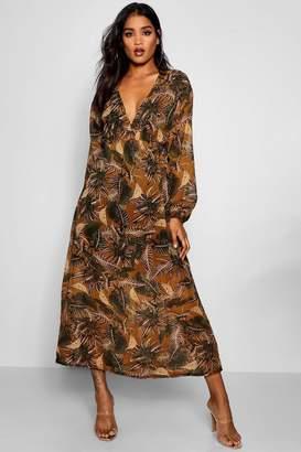boohoo Palm Print Chiffon Maxi Dress