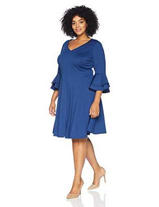 Gabby Skye Women's Plus Size 3/4 Tiered Sleeve V-Neck Ponte Fit and Flare Dress