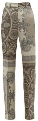 Etro Lindsey Paisley Print Satin Wide Leg Trousers - Womens - Grey Multi