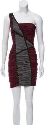 Nicole Miller Wool Ruched One-Shoulder Mini Dress