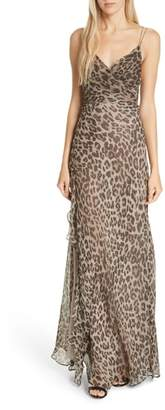 Nicholas Leopard Print Silk Maxi Dress